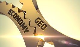 Concetto di economia di Geo Ingranaggi metallici dorati 3d Immagine Stock