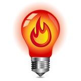 Concetto di energia, fuoco dentro la lampadina Fotografia Stock Libera da Diritti