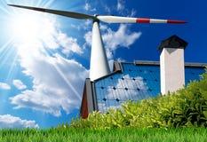 Concetto di energia solare e del vento Fotografia Stock