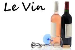 Concetto di enologia con vino rosso ed il vino del rosé fotografia stock