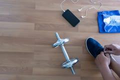 concetto di esercizio di forma fisica, vista superiore prima dell'allenamento o esercizio dentro Immagine Stock Libera da Diritti