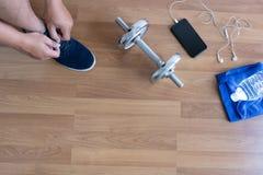 concetto di esercizio di forma fisica, vista superiore prima dell'allenamento o esercizio dentro Fotografia Stock