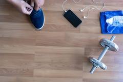 concetto di esercizio di forma fisica, vista superiore prima dell'allenamento o esercizio dentro Fotografie Stock Libere da Diritti
