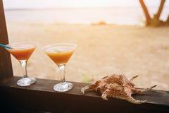 Concetto di estate: cocktail esotici freschi sul bordo di legno Shell che si trova accanto Vita dell'isola paradise fotografia stock libera da diritti