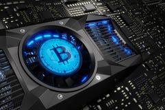Concetto di estrazione mineraria di Bitcoin Fotografie Stock