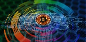 Concetto di estrazione mineraria di Bitcoin Illustrazione di Stock