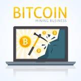 Concetto di estrazione mineraria di Bitcoin Cryptocurrency dei guadagni in computer con Internet Immagine Stock Libera da Diritti