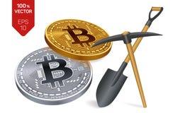 Concetto di estrazione mineraria di Bitcoin moneta fisica isometrica del pezzo 3D con il piccone e la pala Cryptocurrency Bitcoin Fotografie Stock