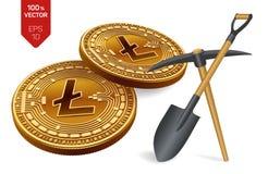 Concetto di estrazione mineraria di Litecoin moneta fisica isometrica del pezzo 3D con il piccone e la pala Valuta di Digital Cry illustrazione di stock