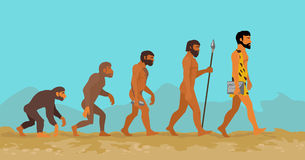 Concetto di evoluzione umana dalla scimmia all'uomo Fotografie Stock Libere da Diritti