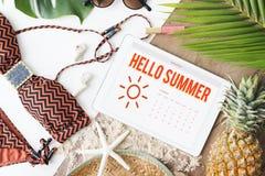Concetto di felicità di divertimento di programma del calendario di estate fotografia stock