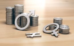 Concetto di femminismo Paga di genere Gap per lavoro di valore uguale Fotografia Stock Libera da Diritti