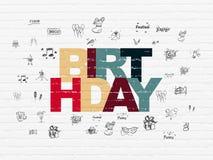 Concetto di festa: Compleanno sul fondo della parete Immagini Stock Libere da Diritti