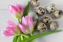 Concetto di festa di Pasqua e della primavera Vista superiore Fotografia Stock Libera da Diritti