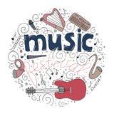 Concetto di festival di musica nello stile disegnato di scarabocchio del cerchio a disposizione illustrazione vettoriale