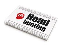 Concetto di finanza: cacciatore di teste ed ingranaggi del giornale Immagini Stock