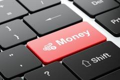 Concetto di finanza: Calcolatore e soldi sul fondo della tastiera di computer