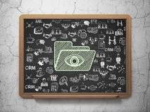Concetto di finanza: Cartella con l'occhio sul fondo del consiglio scolastico Fotografia Stock Libera da Diritti