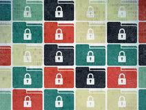 Concetto di finanza: Cartella con le icone della serratura su Digital Fotografie Stock Libere da Diritti