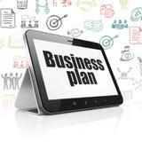 Concetto di finanza: Computer della compressa con il business plan su esposizione Fotografia Stock