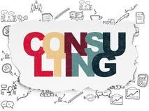 Concetto di finanza: Consultandosi sulla carta lacerata Immagini Stock