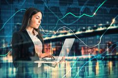 Concetto di finanza e di tecnologia fotografia stock
