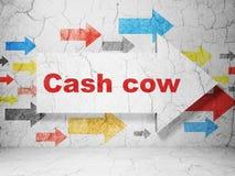 Concetto di finanza: freccia con il cash cow sul fondo della parete di lerciume Illustrazione di Stock