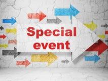 Concetto di finanza: freccia con l'evento speciale sul fondo della parete di lerciume Fotografia Stock