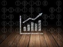 Concetto di finanza: Grafico di crescita nella stanza scura di lerciume Fotografia Stock