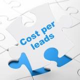 Concetto di finanza: Il costo per inganna il fondo di puzzle Fotografie Stock