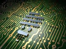 Concetto di finanza: Lampada economizzatrice d'energia sul fondo del circuito Immagine Stock Libera da Diritti
