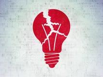 Concetto di finanza: Lampadina sul fondo della carta di dati di Digital fotografie stock libere da diritti