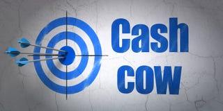 Concetto di finanza: obiettivo e cash cow sul fondo della parete Fotografia Stock Libera da Diritti
