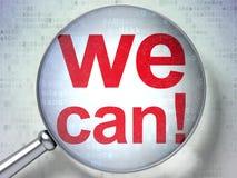 Concetto di finanza: Possiamo! con vetro ottico Fotografia Stock