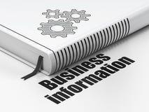 Concetto di finanza: prenoti gli ingranaggi, informazioni di affari su fondo bianco Fotografia Stock