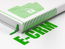 Concetto di finanza: prenoti la cartella con la serratura, E-CRM su fondo bianco Immagini Stock