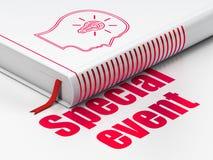 Concetto di finanza: prenoti la testa con la lampadina, evento speciale su bianco fotografie stock libere da diritti