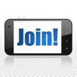 Concetto di finanza: Smartphone con l'unire! su esposizione Immagine Stock