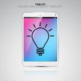 Concetto di finanza: smartphone o compressa con l'icona della lampadina sui Di Fotografia Stock Libera da Diritti