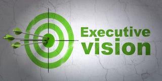 Concetto di finanza: visione del dirigente e dell'obiettivo sul fondo della parete Fotografie Stock Libere da Diritti