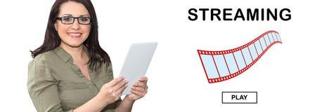 Concetto di flusso continuo del video fotografia stock libera da diritti
