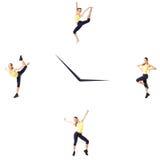 Concetto di forma fisica con la donna sportiva su un fondo bianco sull'orologio Fotografia Stock