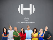 Concetto di forma fisica di allenamento della testa di legno di esercizio di sport Immagini Stock Libere da Diritti