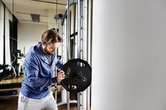Concetto di forma fisica di esercizio di allenamento di addestramento del peso Fotografie Stock