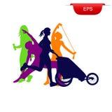 Concetto di forma fisica, donna corrente con il passeggiatore, icona, illustrazione di vettore Fotografie Stock