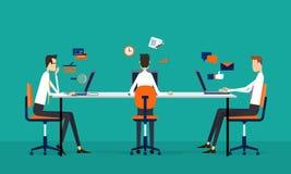 Concetto di funzionamento online del gruppo di affari illustrazione vettoriale