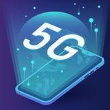 Concetto di 5G in futuro sul vostro telefono con il vettore della rete illustrazione di stock