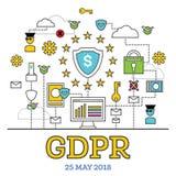 Concetto di GDPR Illustrazione di vettore Protezione dei dati generale Regul illustrazione di stock