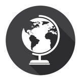 Concetto di geografia di Black Web Icon del modello di terra del globo Immagini Stock