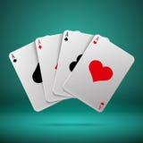 Concetto di gioco di vettore del black jack del poker del casinò con le carte da gioco con quattro assi Immagini Stock
